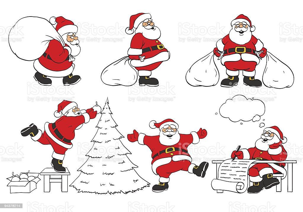 Satz Von Fröhlich Christmas Santa Klausel In Verschiedenen Posen ...