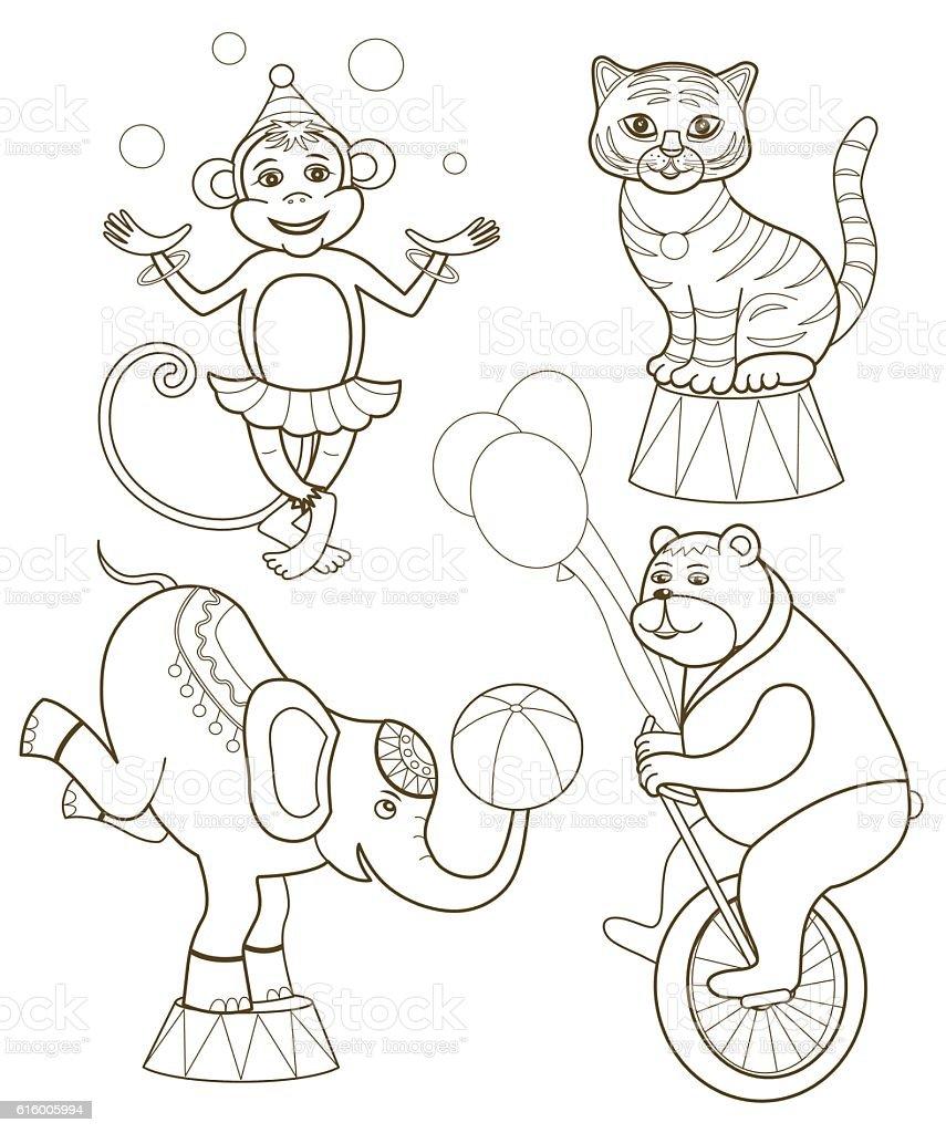 Set Of Cheerful Circus Animals Stock Illustration ...
