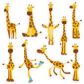 istock Set of Cheerful funny giraffes with long neck. Height meter or meter wall or wall sticker from 0 to 150 centimeters to measure growth. Childrens vector illustration 1202683730