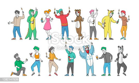 istock Set of Cheerful Happy People in Funny Costumes Friendship, Celebration and Pajama Party Concept. Rejoice Friends Booze 1282147526