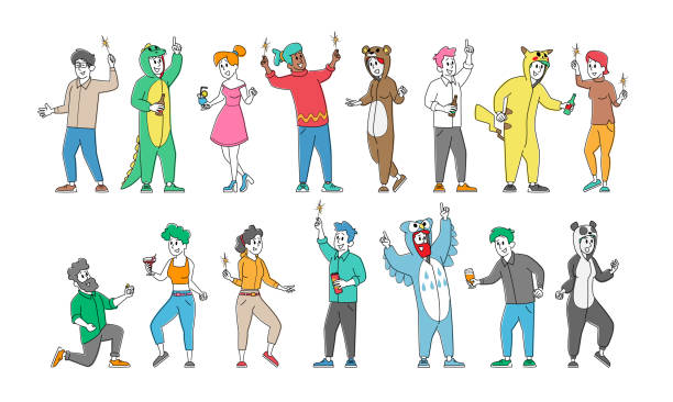 Set of Cheerful Happy People in Funny Costumes Friendship, Celebration and Pajama Party Concept. Rejoice Friends Booze Set of Cheerful Happy People in Funny Costumes Friendship, Celebration and Pajama Party Concept. Rejoice Isolated on White Background. Friends Characters Corporate Booze. Linear Vector Illustration active lifestyle stock illustrations