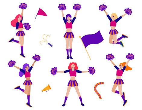 Set of cheerleader girls - vector stock illustration. Dancing cheer team in uniform, women sport fun. Football or american soccer support flat cartoon character