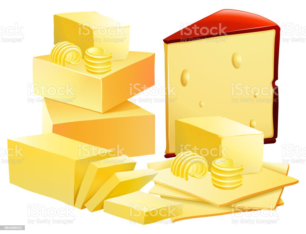 A Set of Cheese on White Background - Royalty-free Art stock vector