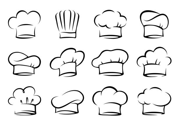 set of chef and cook hats - chef stock illustrations