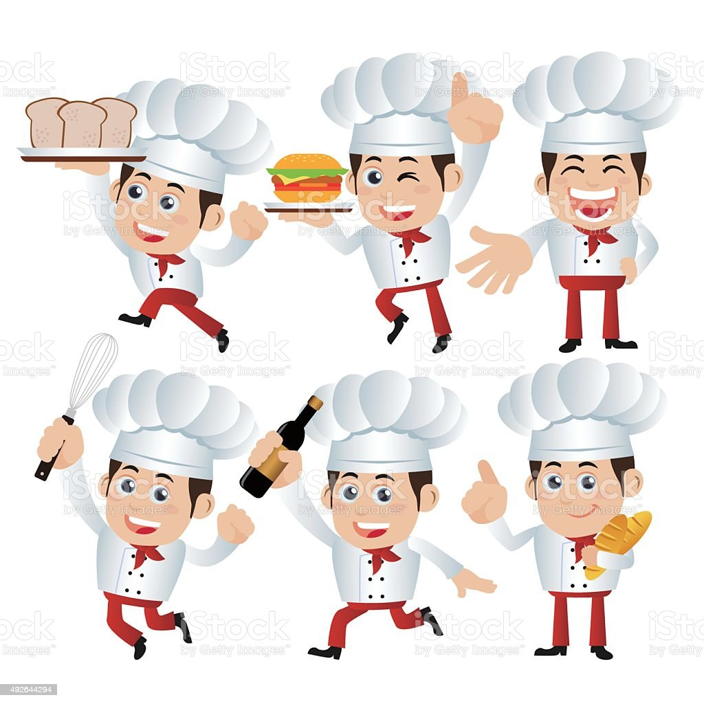 set of chef characters in different poses stock vector art