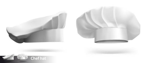 Set of chef hats isolated on white background. Vector illustration. Ready for your design. chef's hat stock illustrations
