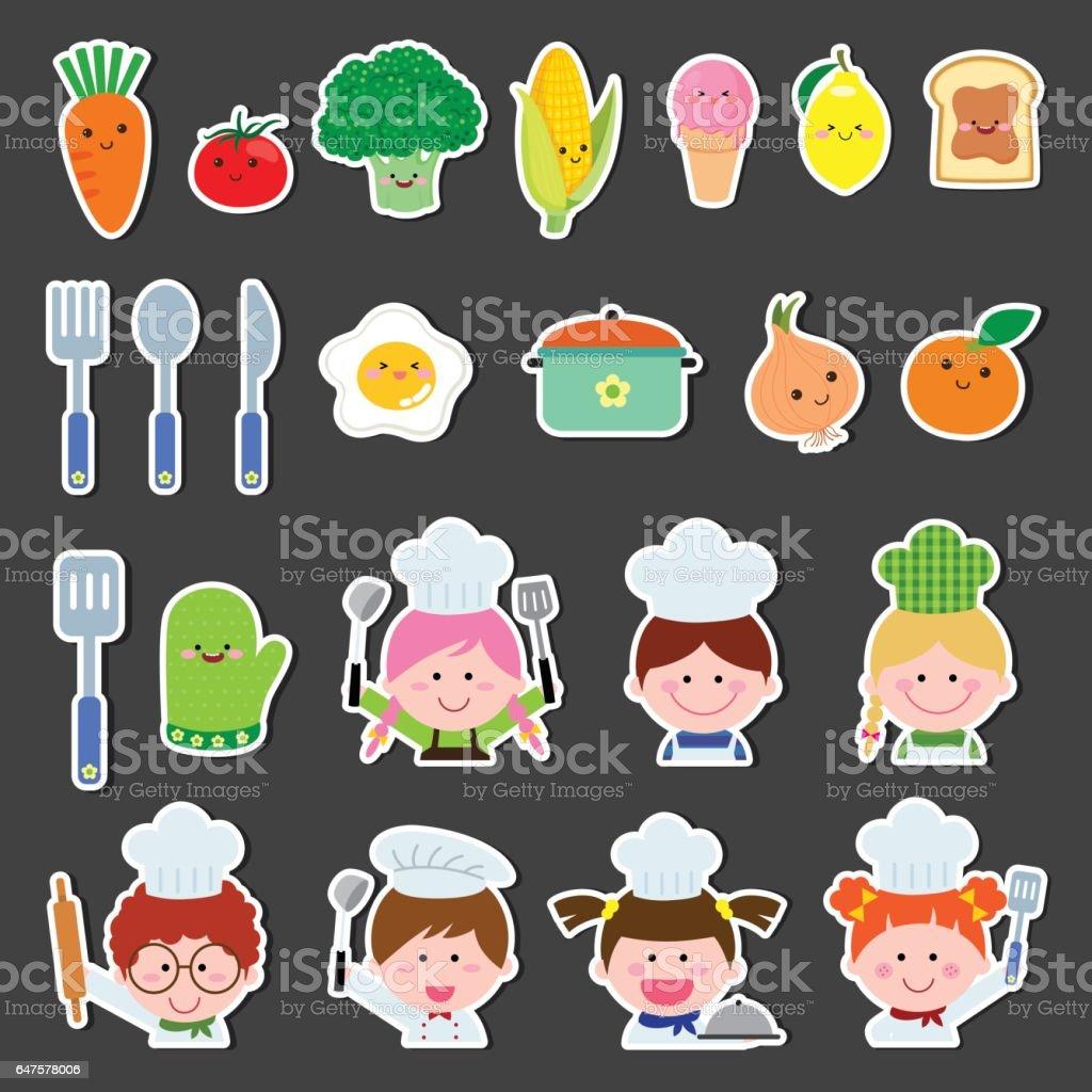 Set of chef kids and kitchen elements vector art illustration