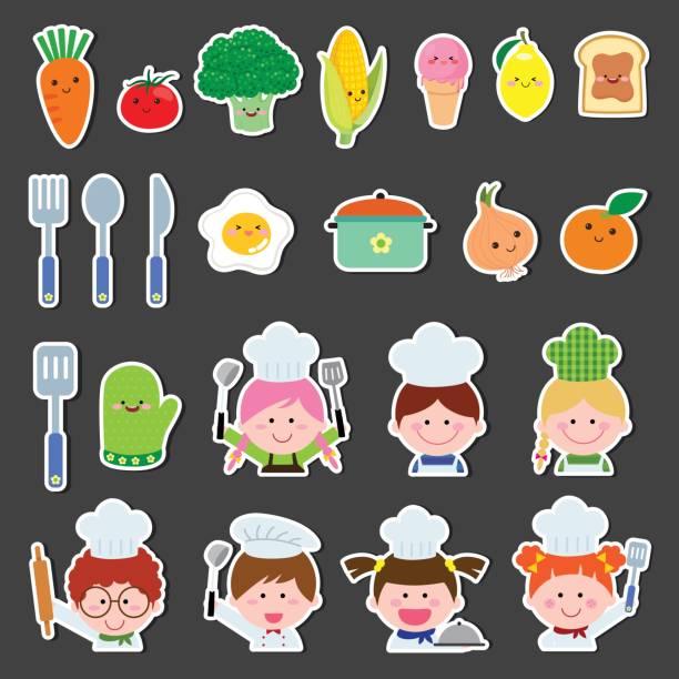 illustrations, cliparts, dessins animés et icônes de ensemble des enfants du chef et des éléments de cuisine - boisson et alimentation de bande dessinée