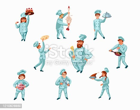 istock Set of chef-cook characters showing meals in different actions. Vector illustration in flat cartoon style. 1210626930