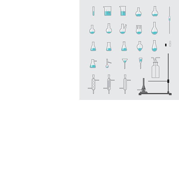 ein satz von chemie laborglas - kondensation stock-grafiken, -clipart, -cartoons und -symbole