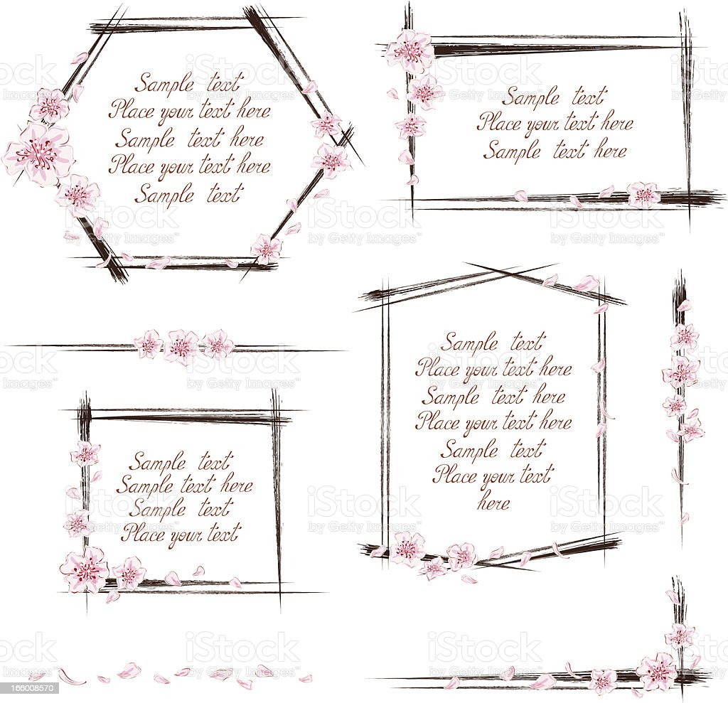 Set of cherry blossom frames royalty-free stock vector art