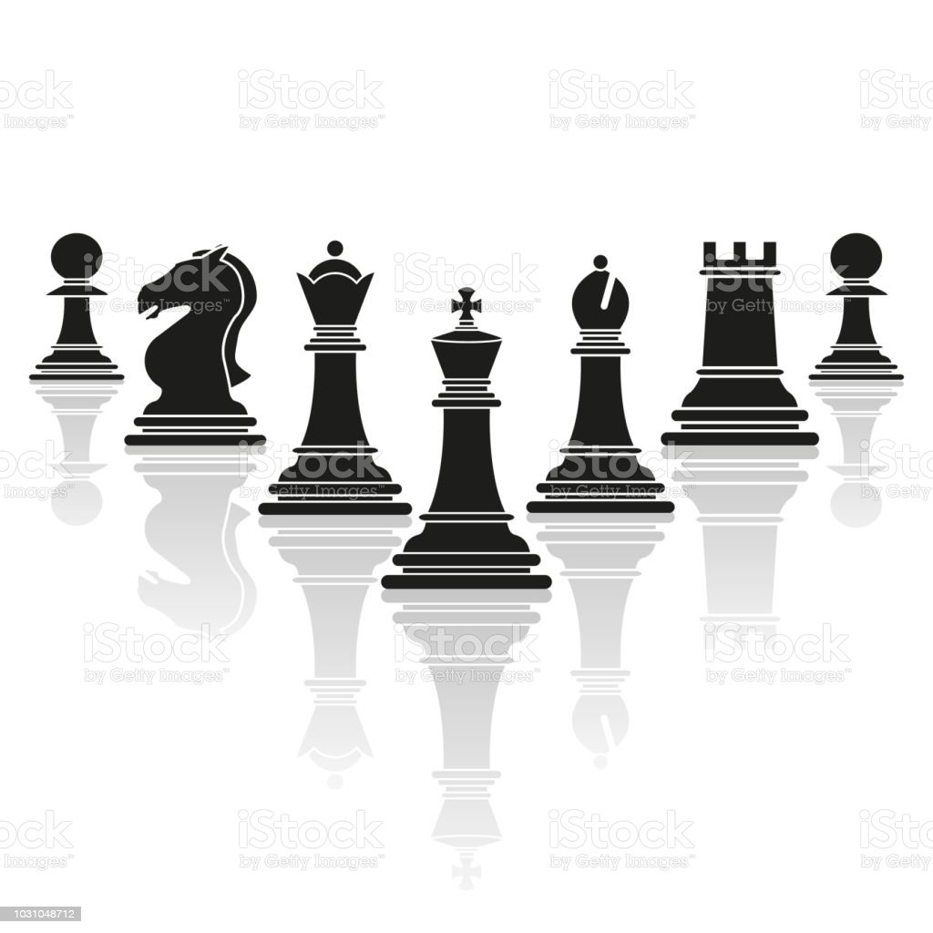 Set Of Chess Club Play Icons With Reflection Stock Vector ...