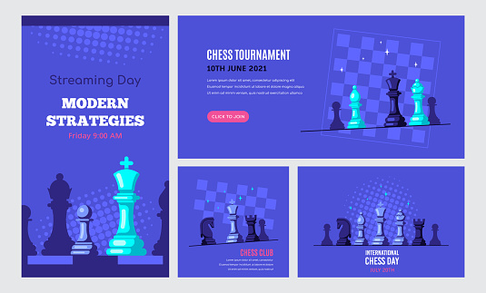 Set of Chess Game Banner Templates, Stock Vector