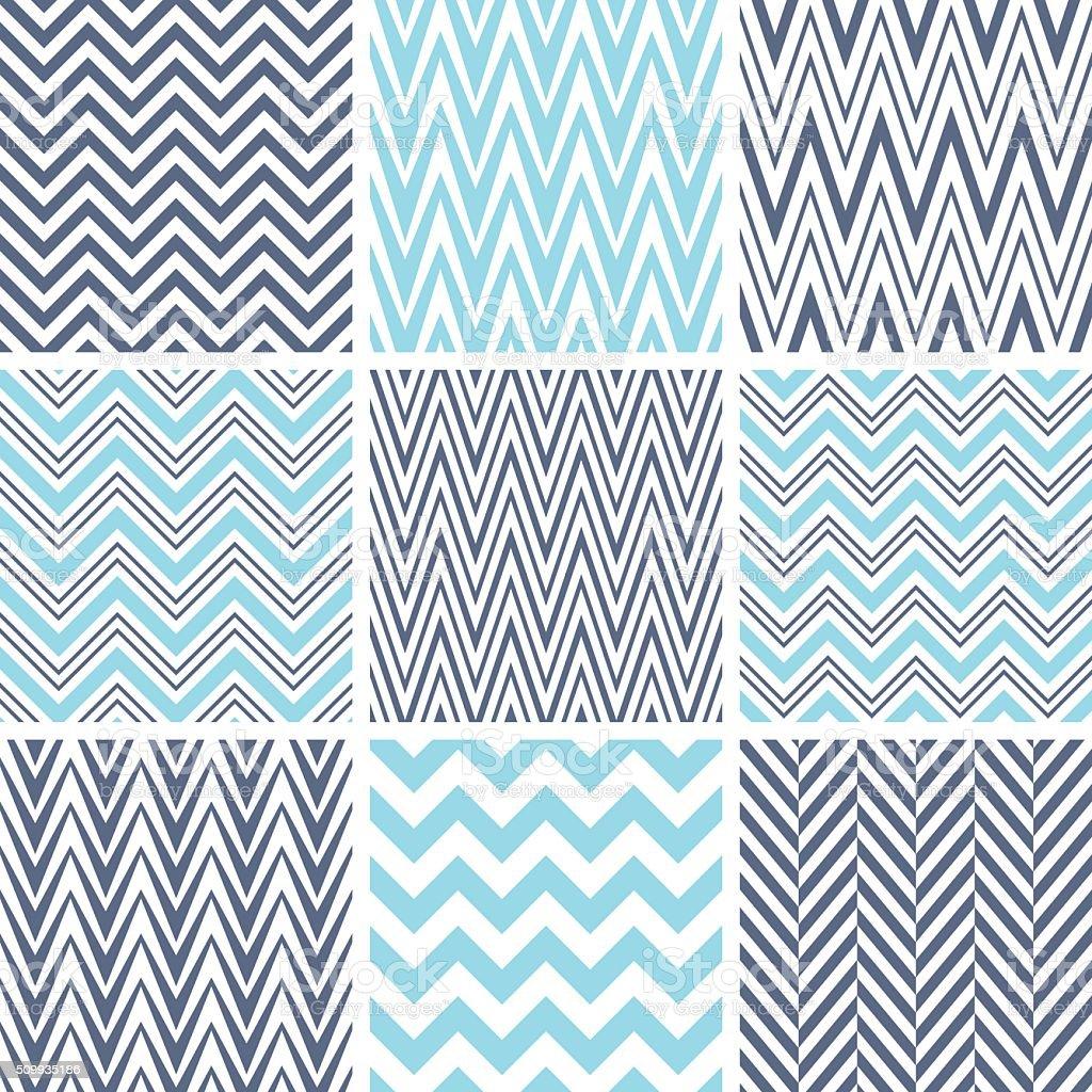 Set of chevron seamless patterns vector art illustration