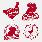 Set of Chicken labels, prints, posters for butcher shop, farmer market.