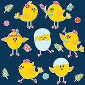 set of chicken stickers isolated on white background, color vector illustration in flat style, icon, design, decoration