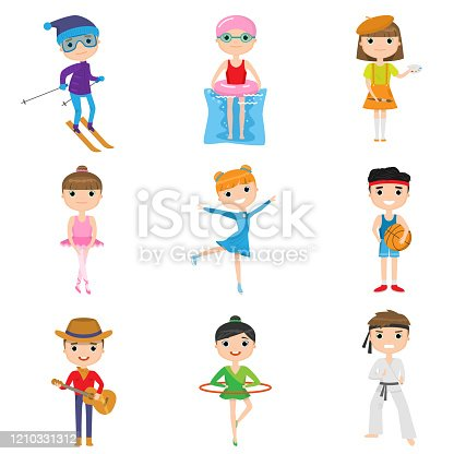 Set of child activities and hobbies isolated against white background