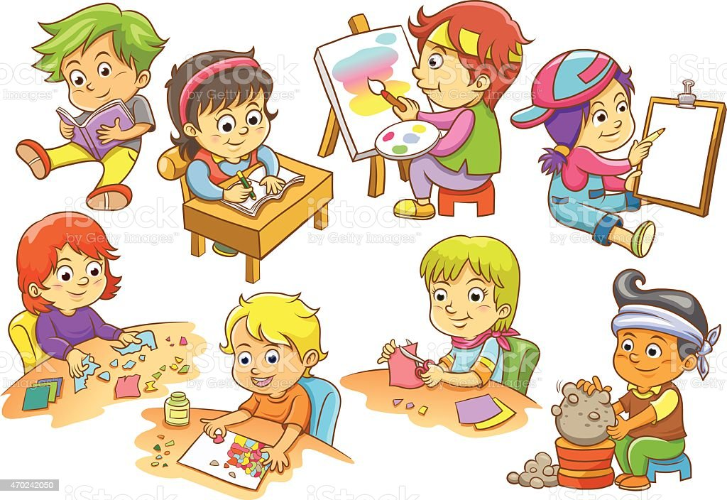 set of child activities routines. vector art illustration