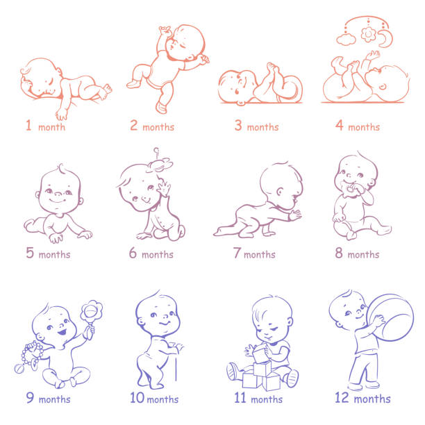 ilustrações de stock, clip art, desenhos animados e ícones de set of child health and development icons. - baby