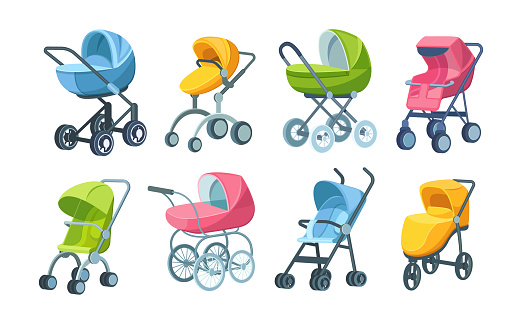 Set of childish colorful folding stroller, buggy, baby carriage, child wagon, infant transport