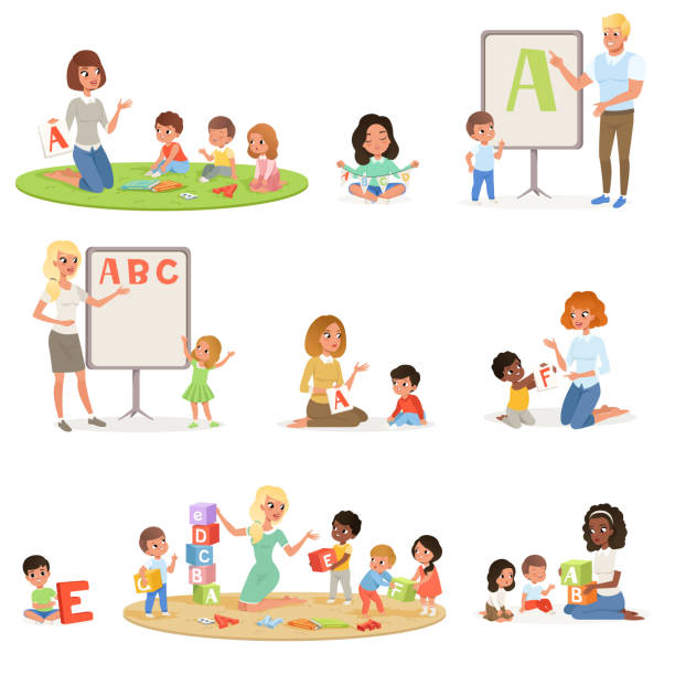 set of children doing speech therapy with teachers. child development center. kids alphabet letters through play. educational game. isolated flat vector design - maluch stock illustrations