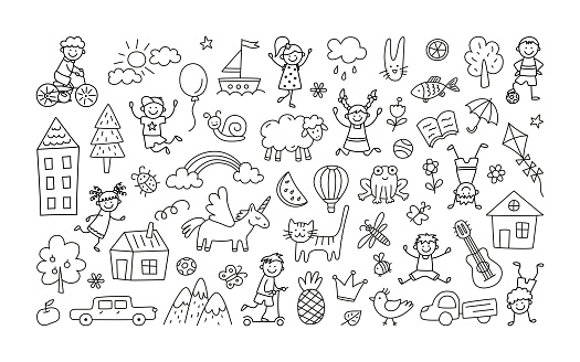 A set of children drawings. Kid doodle. Sun in the clouds, summer flowers, painted houses, cute cat and other black and white elements. Vector illustration