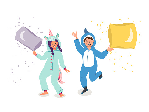 Set of children in animal costumes. Pajama party