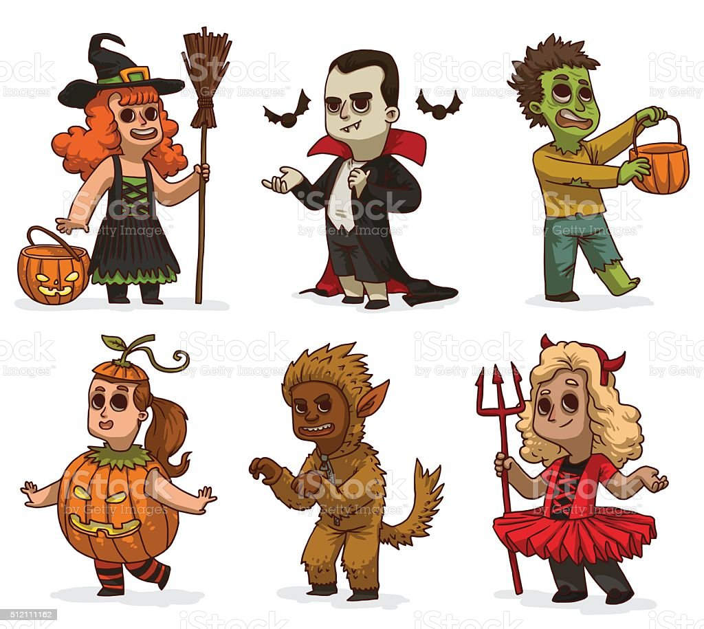 Set of children in variety Halloween costumes vector art illustration