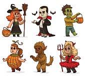 Set of children in variety Halloween costumes