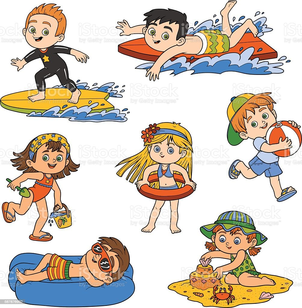 Set Of Children On Summer Vacation Royalty Free Stock