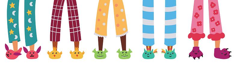 Set of children pajama slippers