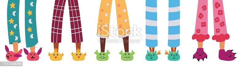 Set of children pajama slippers. Pajama party. Vector editable illustration