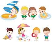 Set of children play on summer holidays