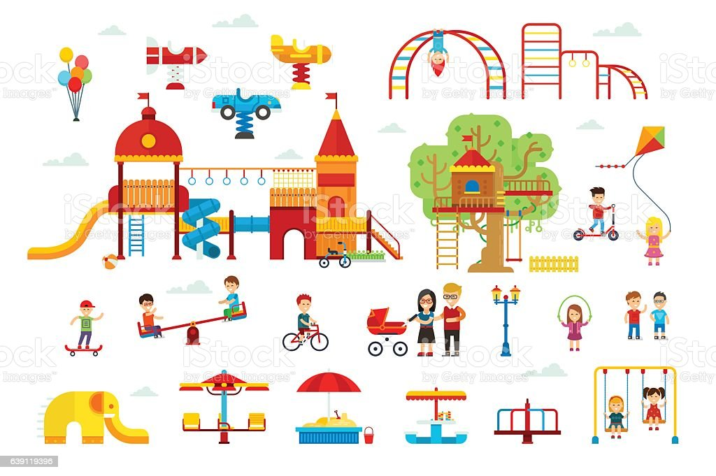 Set of children playground elements vector art illustration