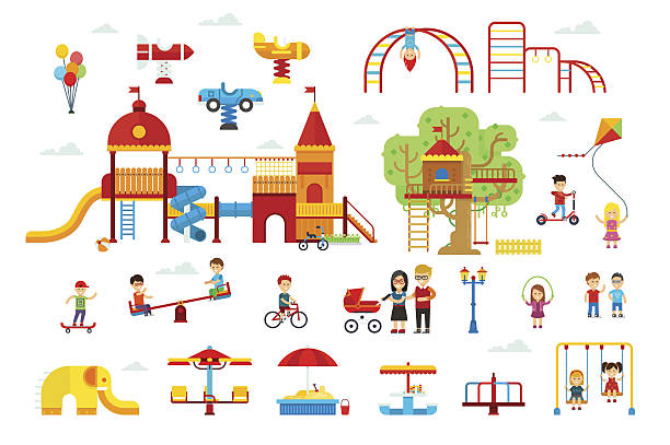 set of children playground elements - recess stock illustrations, clip art, cartoons, & icons