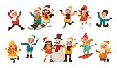 Set of children playing in the winter. Boys and girls make merry, sculpt a snowman, sledding, skiing and ice skating. Vector illustration in cartoon style