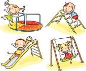 Set of Children Playing on Various Playground Equipment