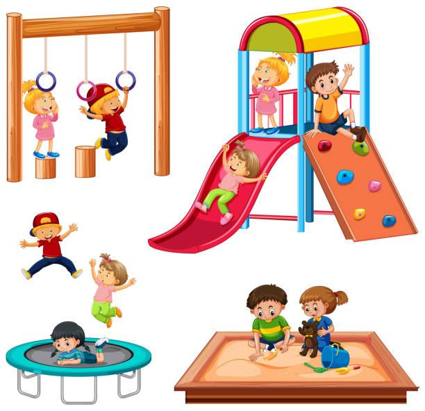 set of children playing playground equipment - monkey bars stock illustrations, clip art, cartoons, & icons