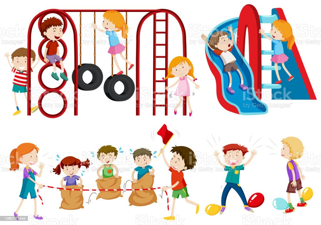 Set of children playing vector art illustration