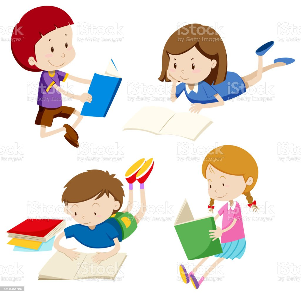 A Set of Children Reading Book - Royalty-free Art stock vector