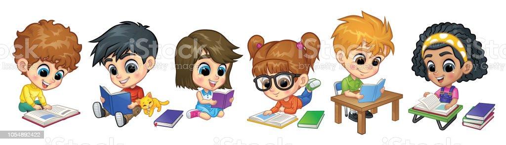 Satz von Kindern lesen Books_Vector Illustration EPS 10 – Vektorgrafik