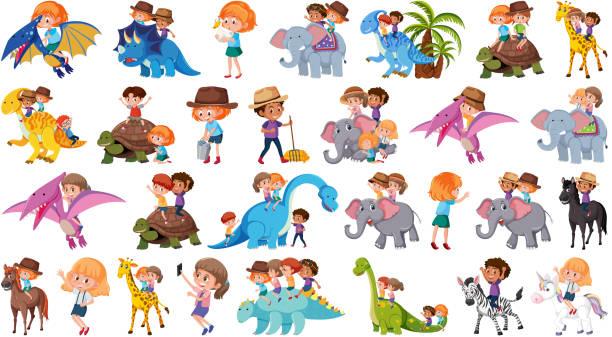 動物に乗って子供のセット - 乗馬点のイラスト素材/クリップアート素材/マンガ素材/アイコン素材