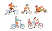 Set of children riding bicycles of different types - city, 4 wheel, balance bike and bmx bicycle with Child Seat, Baby Carrier Seat. Kids doing summer sport activities on bikes