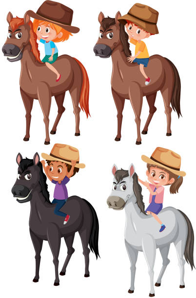 馬に乗って子供のセット - 乗馬点のイラスト素材/クリップアート素材/マンガ素材/アイコン素材