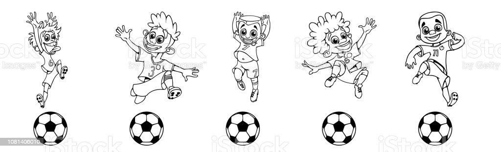 Satz Von Kinderfussballspieler Ein Ballspiel Stock Vektor Art