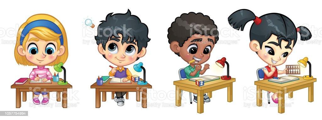 Set Kinder studieren auf Tisch: Schreib- und Counting_Vector Abbildung EPS 10 – Vektorgrafik