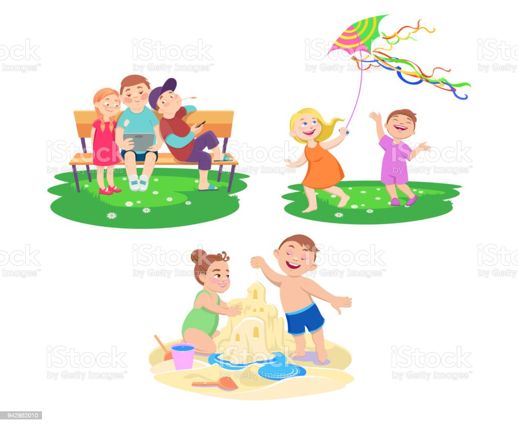 Ilustración de Conjunto De Niños Que Descansan En Unas Vacaciones De ...
