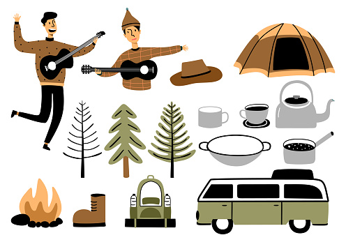 Set of children's camping vector illustration, travel and overnight in the forest Isolated on white background. Great for woodland themed backgrounds, home decor, children's fashion