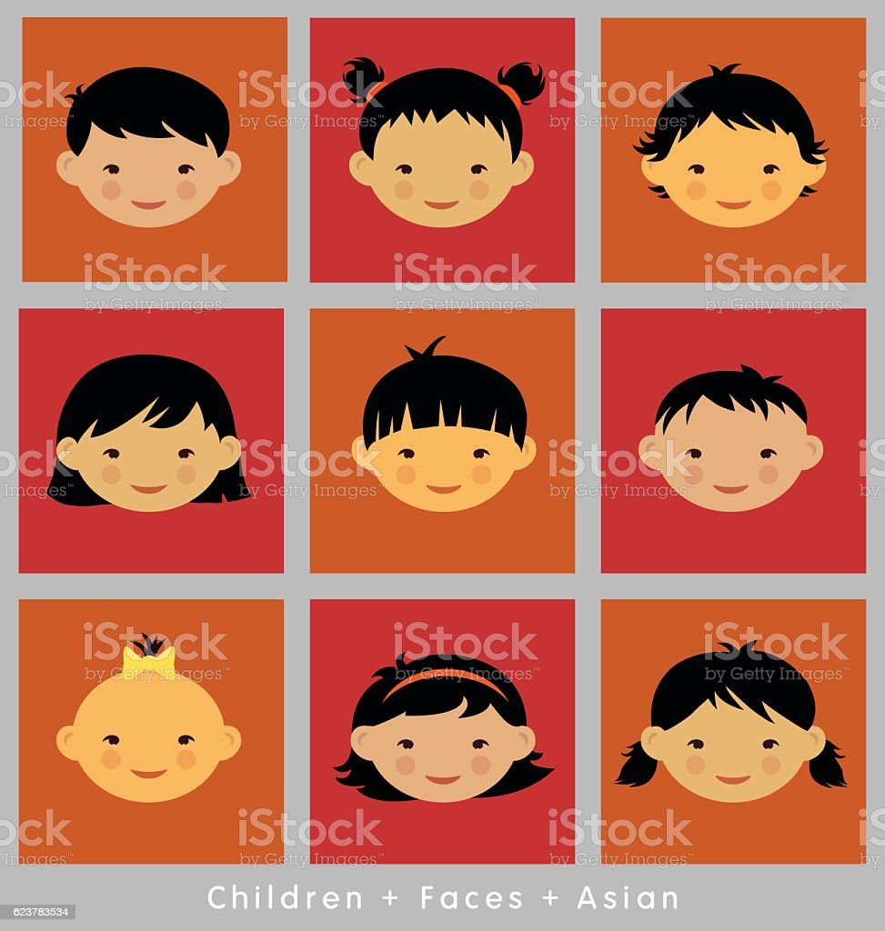 set of children's faces. Asian ethnicity.  vector flat style.