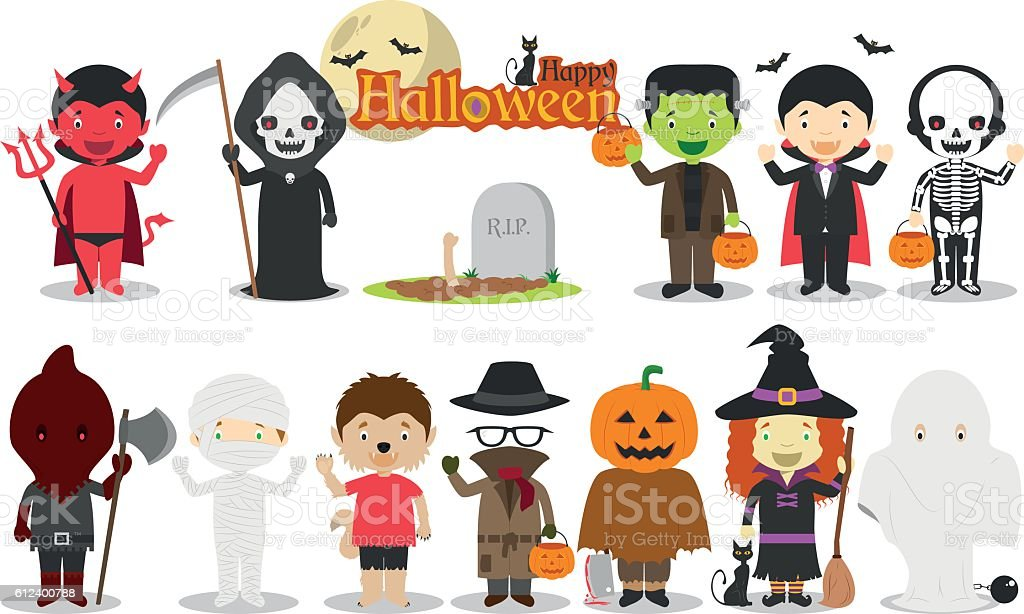 Set of Children´s Halloween characters vector illustration vector art illustration